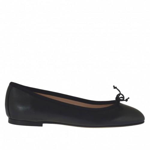 Ballerine pour femmes en cuir noir avec noeud talon 1 - Pointures disponibles:  32