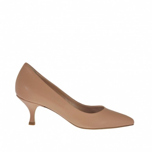 Woman's pump shoe in dark powder rose leather with heel 5 - Available sizes:  32, 42, 44