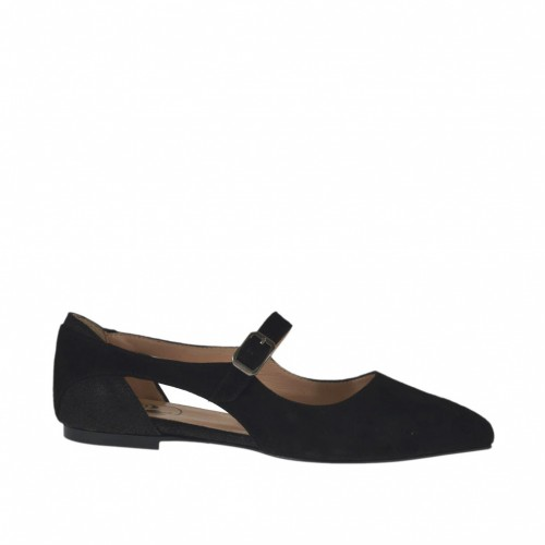 Woman's open shoe with strap in black suede and laminated printed leather heel 1 - Available sizes: 32, 33, 34, 43, 44