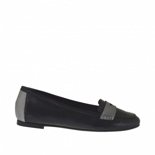 Mocassin pour femmes en cuir noir et gris acier talon 1 - Pointures disponibles:  33, 34