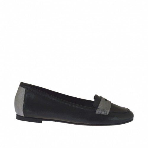 Woman's mocassin in black and steel grey leather heel 1 - Available sizes:  33, 34, 45, 46