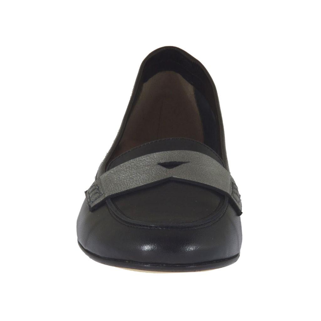 mocassin pour femmes en cuir noir et gris acier talon 1 ghigocalzature. Black Bedroom Furniture Sets. Home Design Ideas