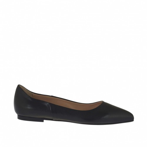 Ballerine à bout pointu pour femmes en cuir de couleur noir talon 1 - Pointures disponibles:  33