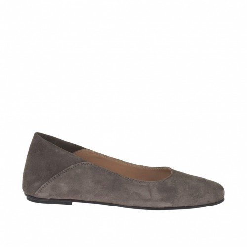 Woman's ballerina in dove grey suede heel 1 - Available sizes:  32, 33, 34, 44