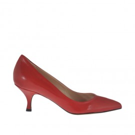 Woman's pump shoe in red leather with heel 5 - Available sizes: 33, 34, 42, 43, 44