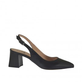 Woman's slingback pump in black leather heel 5 - Available sizes:  33, 34, 42