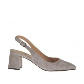 Chanel pour femmes en daim gris tourterelle talon 5 - Pointures disponibles: 32, 33, 34, 42, 43, 44, 45