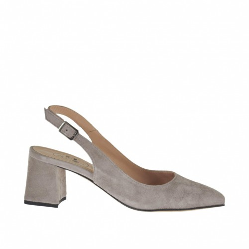 Woman's slingback pump in dove grey suede heel 5 - Available sizes:  33, 42