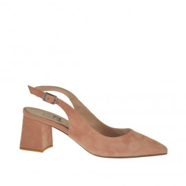 Woman's slingback pump in peach pink suede heel 5 - Available sizes:  33, 34, 42, 43, 44, 45