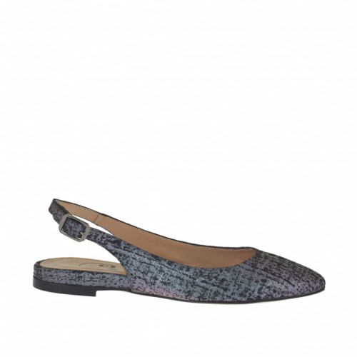 Woman's slingback pump in multicolor holographic printed leather heel 1 - Available sizes:  32, 33, 42