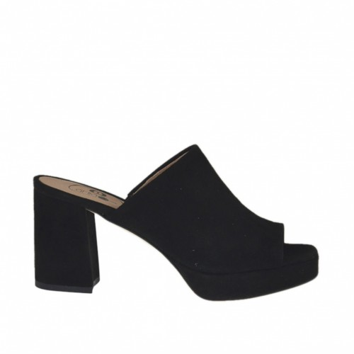 Woman's mules in black suede with platform and heel 7 - Available sizes:  32, 42