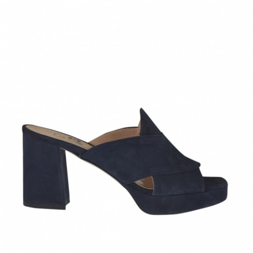 Woman's mules in blue suede with platform and heel 7 - Available sizes:  44