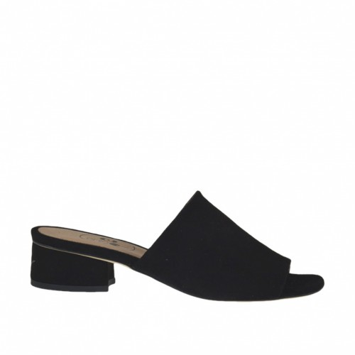 Woman's open mules in black suede heel 3 - Available sizes:  32, 33, 34