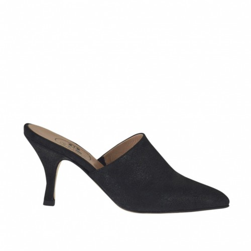 Woman's closed toe mules in black printed laminated leather heel 7 - Available sizes:  33, 42, 43