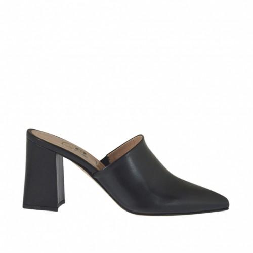 Mule à bout fermé pour femmes en cuir noir talon 7 - Pointures disponibles:  33