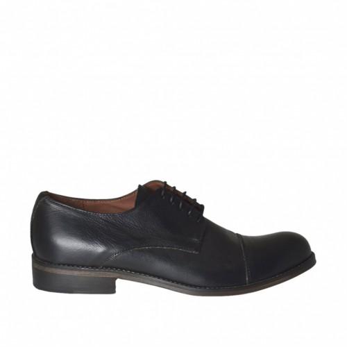 Chaussure elégant à lacets pour hommes en cuir noir à bout arrondi - Pointures disponibles:  36, 38