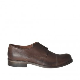 Men's elegant laced shoe in brown leather with rounded tip - Available sizes:  37, 38, 48