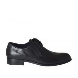 Eleganter Herrenschnürschuh mit Gummiband aus glattem schwarzem Leder - Verfügbare Größen: 36, 37, 38, 46, 47, 48, 49