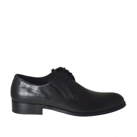 Men's elegant shoe with elastics and laces in smooth black leather - Available sizes:  36, 38