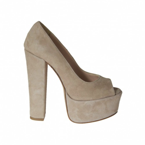 Woman's open toe platform pump in beige suede with heel 13 - Available sizes:  42