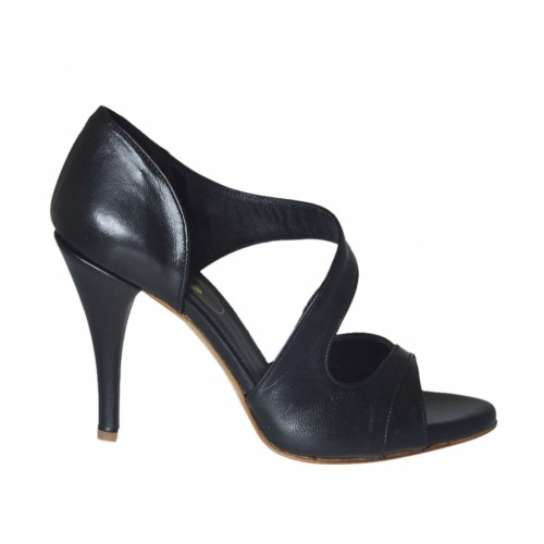 Woman's open shoe in black leather with platform and heel 8 - Available sizes: 31, 32, 33, 34, 42, 43, 45, 46, 47