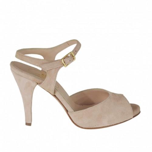 Sandale pour femmes avec courroie à la cheville et plateforme en daim rose talon 8 - Pointures disponibles:  47
