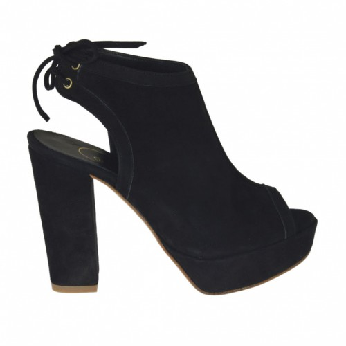 Woman's high-fronted sandal with platform and back laces in black suede heel 9 - Available sizes:  31