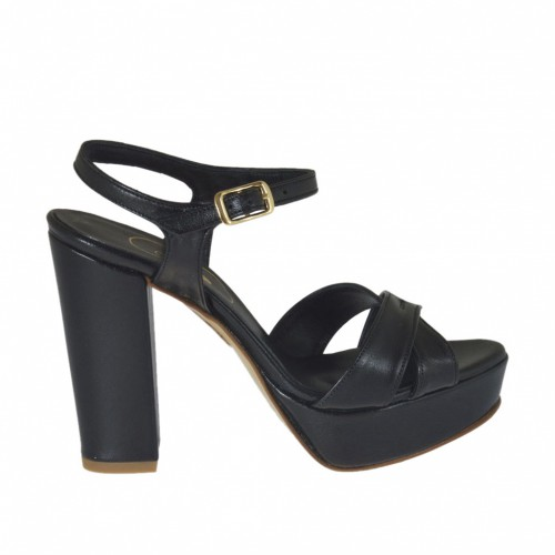 Woman's strap sandal with platform in black leather with heel 9 - Available sizes:  42, 47