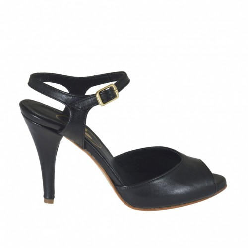 Woman's strap sandal with platform in black leather with heel 8 - Available sizes:  32, 42, 44, 47