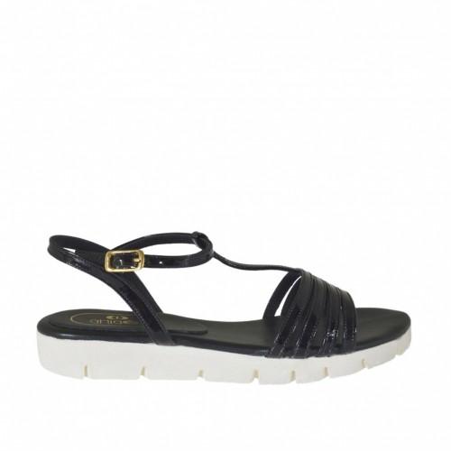 Sandale pour femmes avec courroie salomé en cuir verni noir talon compensé 2 - Pointures disponibles:  32, 42, 43, 46