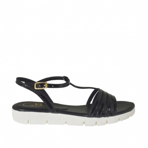 Woman's T-strap sandal in black patent leather wedge heel 2 - Available sizes:  32, 42, 43