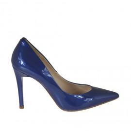 Scarpa decolté da donna in vernice laccata blu tacco 9 - Misure disponibili: 31