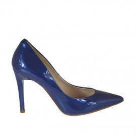 Woman's pump shoe in blue lacquered patent leather heel 9 - Available sizes: 31, 32, 33, 34, 42, 43, 44, 45, 46