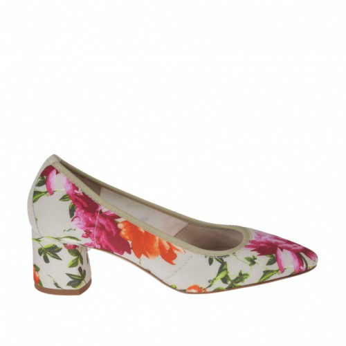 Woman's pump in beige elastic fabric with floral print and beige leather heel 5 - Available sizes:  31, 34, 43, 44, 46