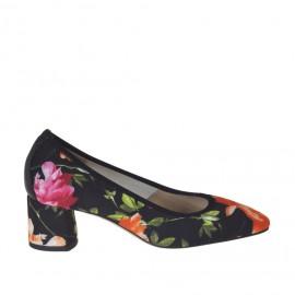 Decolté da donna in tessuto elasticizzato nero con stampa floreale e pelle nera tacco 5 - Misure disponibili: 34