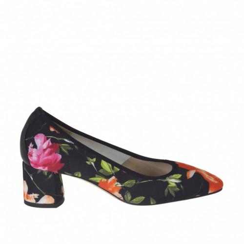 Zapato de salon para mujer en tejido elastico negro estampado floreal y piel negra tacon 5 - Tallas disponibles:  33, 34
