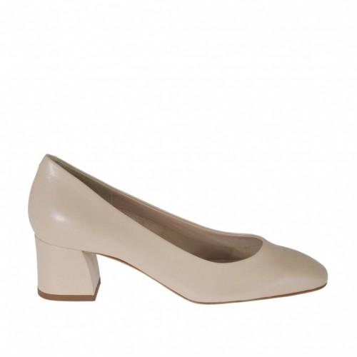 Woman's pump shoe with squared tip in powder rose leather with heel 5 - Available sizes:  31, 32, 33, 34, 42, 43, 44
