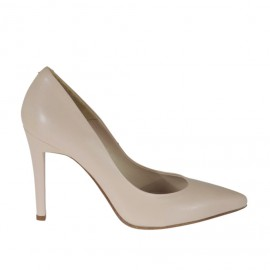 Woman's pump shoe in powder rose leather with heel 9 - Available sizes: 31, 34, 42, 43, 44, 46