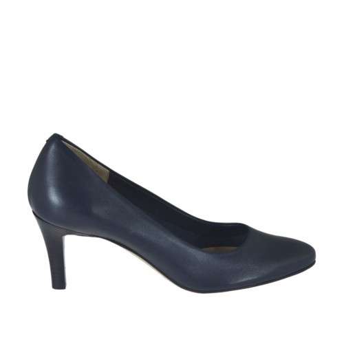 Woman's pump in blue leather heel 7 - Available sizes:  32, 43, 44, 45, 46