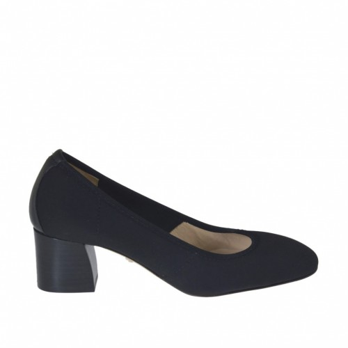 Woman's pump in black elastic fabric and leather heel 5 - Available sizes:  33, 34
