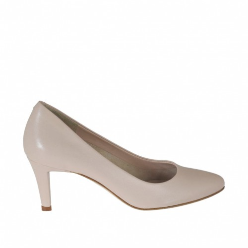 Woman's pump in nude beige leather heel 7 - Available sizes:  42