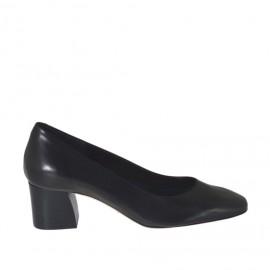Zapato de salon para mujer en piel negra con punta cuadrada tacon 5 - Tallas disponibles:  31, 32, 33, 42, 43, 44, 45, 46