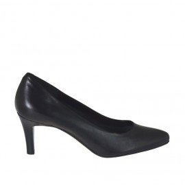 Pump shoe for women in black leather heel 7 - Available sizes: 31, 32, 33, 34, 42, 43, 44, 45, 46