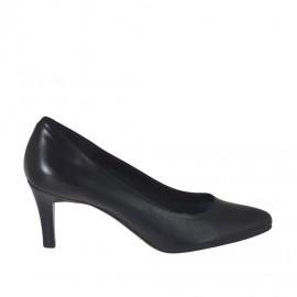 Zapato de salon para mujer en piel negra tacon 7 - Tallas disponibles:  31, 32, 43, 44, 45, 46