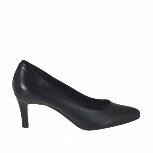 Escarpin pour femmes en cuir noir avec talon 7 - Pointures disponibles:  31, 32, 43, 44, 45, 46