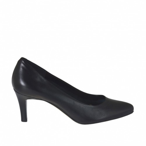 Pump shoe for women in black leather heel 7 - Available sizes:  31, 32, 43, 44, 45, 46