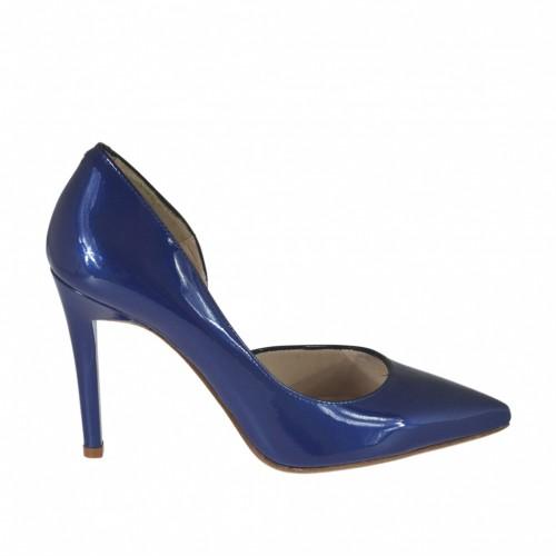 Scarpa da donna aperta al lato in vernice laccata metallizzata blu tacco 9 - Misure disponibili: 31, 34, 43, 44, 46