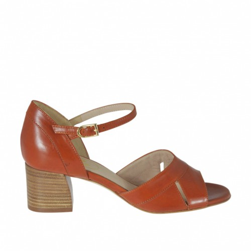 Woman's open strap shoe in tan brown leather heel 5 - Available sizes:  32, 33, 34, 42, 43, 44, 45, 46