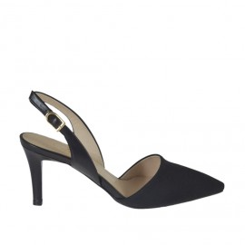 Woman's slingback pump in black fabric and leather heel 7 - Available sizes:  43