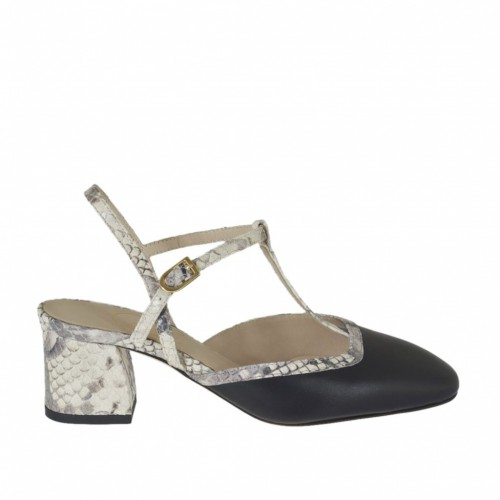 Slingback pump with t-strap in black leather and beige printed leather heel 5 - Available sizes:  43, 44
